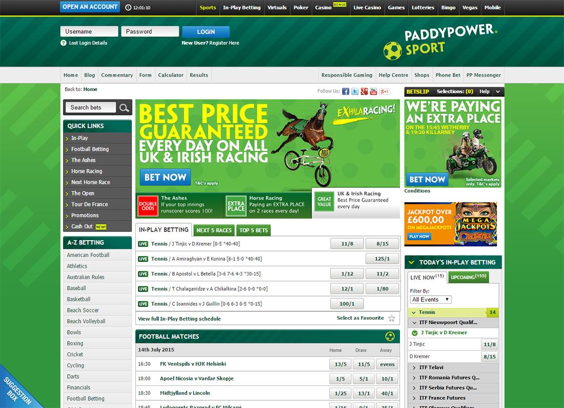Paddy Power БК - интерфейс сайта