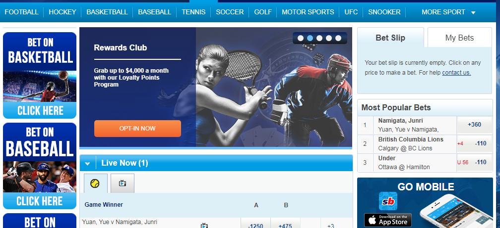 Спортингбет (официальный сайт). Внешний вид