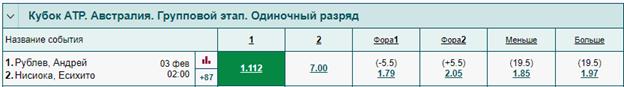 Андрей Рублёв и Есихито Нисиока в рамках кубка ATP