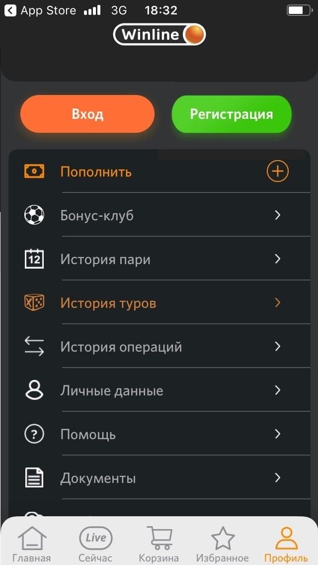 Как выглядит приложение Винлайн